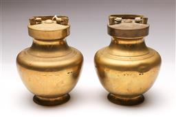 Sale 9098 - Lot 88 - A Pair of Post War Chinese Export Brass Tea Cannisters, Each Marked to Lid H: 21cm