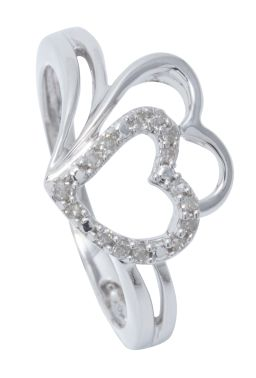 Sale 9149 - Lot 492 - A STERLING SILVER LOVE HEART DIAMOND RING; double open hearts feature one set with 15 single cut diamonds totalling 0.10ct, size N,...