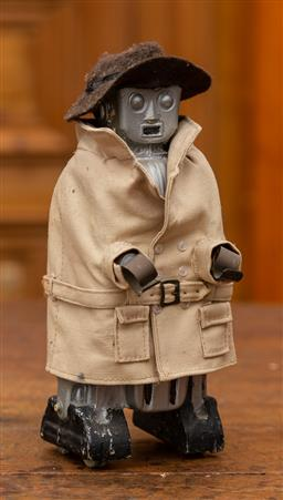 Sale 9160H - Lot 33 - A small prop robot figure dressed in detective gear, ex fox studio toys sale, Height 24cm