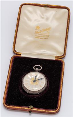 Sale 9180E - Lot 101 - A Victorian sterling silver case pocket watch with engine turned clock face, hallmarked London, c.1873 by Samuel Freeman, in case, u...