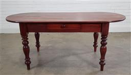 Sale 9196 - Lot 1058 - Late 19th Century Pine Side Table, likely later cut to oval top, having a frieze drawer & raised on turned legs (h77 x w183 x 84cm)