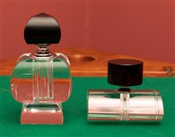Sale 9260M - Lot 19 - Two stylistic glass perfume vials, H 15 and H 9cm