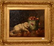 Sale 8107B - Lot 63 - Madeleine P Tombu, 19th Century Belgium - Cat playing with Cherries - oil on board, signed,  size: 41 x 51 cm