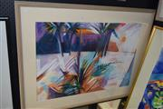 Sale 8509 - Lot 2025 - Merthyr Ruxton - Palms, pastel on paper, 91 x 120cm, signed lower right