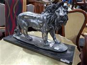 Sale 8740 - Lot 1367 - Silver Coloured Lion Figure Mounted to Base