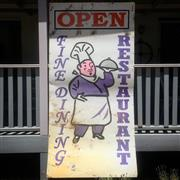 Sale 8878T - Lot 37 - Extremely Large Vintage Tin Kitchen Sign Fine Dining Restaurant OpenDimensions - 120cm x 240cm