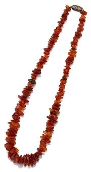 Sale 9066 - Lot 319 - AN AMBER BEAD NECKLACE; 6- 16mm tumbled honey beads to sterling silver clasp, length 48cm.