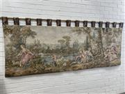 Sale 9085 - Lot 1056B - Long 18th Century Style Tapestry, of courting couples in an idyllic landscape setting (h:110 x w:270cm)