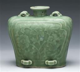 Sale 9098 - Lot 173 - Celadon flask shaped vase decorated with floral panels with loop handles (H13.5cm)