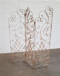 Sale 9151 - Lot 1467 - Wrought iron 3 panel dressing screen (h:180 x w:150cm)