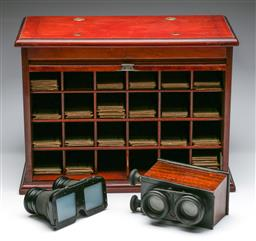 Sale 9175 - Lot 220 - Cabinet of Glass Stereoscopic Slides with Two Stereoscopic Viewers (The London Stereoscopic Co. Regent St. & Another)
