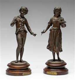 Sale 9211 - Lot 27 - Pair of Cast Metal Figures After Ernest Rancoulet, Apprenti and Eleve (H:29cm)