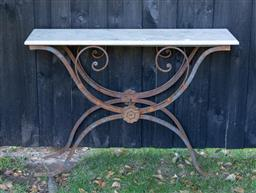 Sale 9248H - Lot 278 - A marble top console rust iron base 105 x 33 x 75