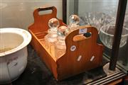 Sale 8081 - Lot 75 - Early Timber 8 Bottle Tray with 3 Cut Crystal Bottles (1 AF)