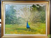 Sale 8443 - Lot 596 - Artist Unknown (XX) - Peacock 75 x 101cm