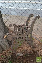 Sale 8499 - Lot 1319 - Pair of Metal Bench Ends