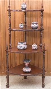 Sale 8515A - Lot 92 - A timber corner whatnot of with four shelves, H 110cm, together with ceramic contents
