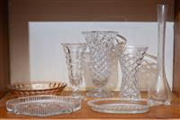 Sale 8735 - Lot 31 - A group of four glass vases together three moulded glass dishes AF tallest 43cm