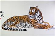 Sale 8802 - Lot 91 - Chinese Silk Embroidery Tiger 85 x 152cm (frame) -