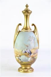 Sale 8897 - Lot 1 - Royal Worcester Hand Painted Lidded Vase Featuring Aquatic Birds By Albert Shuck H: 27cm