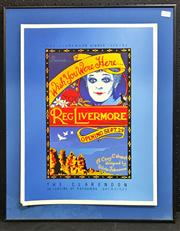 Sale 8945 - Lot 2090 - Original Screenprint The Clarendon Dinner Theatre presents: Reg Livermore - Wish You Were Here... 62 x 49cm (frame, glass broken)