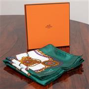 Sale 9070H - Lot 65 - A Vintage Hermes silk scarf with bejewelled design on an emerald green ground 87cm x 87cm together with two boxes and a bag