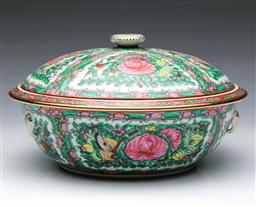 Sale 9098 - Lot 163 - Cantonese Famille Verte tureen and cove decorated with panels of flowers, birds and butterflies (Dia28cm H16cm)