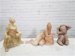 Sale 9174 - Lot 1381 - Collection of 3 moulded statues (h:35cm)