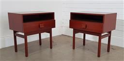 Sale 9188 - Lot 1101 - Pair of Teak single drawer bedsides with open section (h:59 x w:56 x d:36cm)