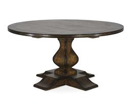 Sale 9250T - Lot 55 - A solid fruitwood round pedestal table in aged walnut finish. Height 77.5cm x Width 152cm x Depth 152cm