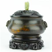 Sale 8221 - Lot 5 - Bronze Censer with Private Markings & a Jade & Timber Lid