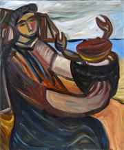 Sale 8374 - Lot 519 - Sarah Faulkner (1959 - ) - Woman with Crab, 1993 121.5 x 101cm