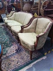 Sale 8566 - Lot 1216 - French Style Upholstered Three Piece Parlour Suite
