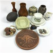Sale 8652W - Lot 11 - Emu Egg with Other Australiana incl. Ashtray