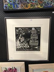 Sale 8841 - Lot 2008 - Lenore Howard (1955 - ) For Love or Money 1989 linocut ed. 2/14, 54 x 52cm (frame), signed/dated