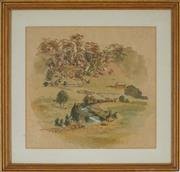 Sale 8903 - Lot 2052 - Samuel Elyard (1817 - 1910) Broughton Creek, Berry ink and watercolour, 27 x 29cm, unsigned -