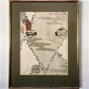 Sale 8878T - Lot 39 - Japanese Framed Silk Print of Incense Burners, Framed by Kato, TokyoDimensions of Frame 44cm x 56cm