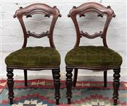 Sale 8942H - Lot 28 - A good set of six Victorian mahogany dining chairs, the balloon backs with scrolled ends and green buttoned velvet seats, Height of ...