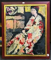 Sale 8949 - Lot 2047 - Nijole Floral Kimono 1986 oil on board, 72 x 60cm (frame), signed and dated lower right