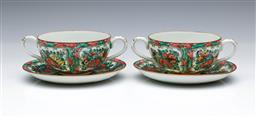 Sale 9098 - Lot 348 - Pair of Cantonese Soup Coupes (W14cm) and underplates, decorated with panels of flowers, birds and butterflies