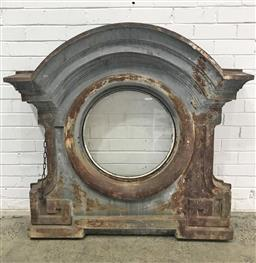 Sale 9126 - Lot 1209 - 19th Century French Cast Iron Mansard Window Casing, marked E. Mechion, Blois, the round window with arched pelmet (127x127cm)