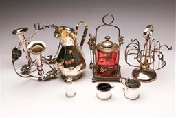 Sale 9119 - Lot 78 - A collection of silver plated wares incl epergne and a ruby glass lidded sugar
