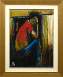 Sale 9150J - Lot 11 - KEVIN CHARLES (PRO) HART (1928 - 2006) Miner oil on board 50 x 37 cm signed lower left
