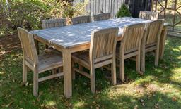 Sale 9248H - Lot 283 - An outdoor setting comprising a teak table and chairs 110 x 240 x 77cm, height of back chairs 90cm