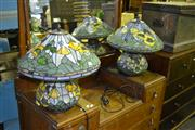 Sale 7987A - Lot 1096 - Pair of  Lead-light Style Table lamps in Yellows and Greens