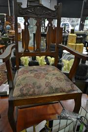 Sale 8159 - Lot 1082 - 4 Silky Oak Dining Chairs ( inc 3 Matching and 1 Carver)