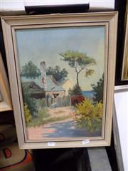 Sale 8437 - Lot 2031 - H. J. Brown (XX) - The Cottage By the Sea 34.5 x 25cm