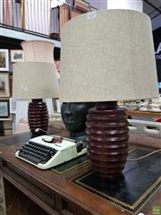 Sale 8580 - Lot 1019 - Pair of Turned Timber Table Lamps