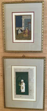 Sale 8510A - Lot 5 - A pair of framed works on paper depicting Mughal scenes, both with text verso, larger 43cm x 33cm
