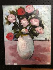 Sale 8789 - Lot 2072 - Val Landa - A Vase in Landscape, acrylic on canvas, 46 x 36cm, signed lower right